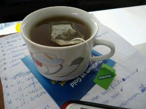 A hot cup of green tea