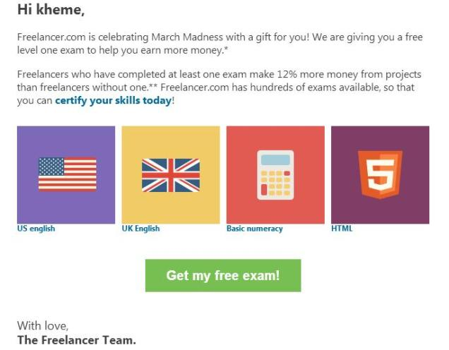 Free Exams from Freelancer.com