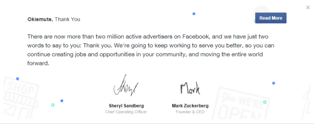 two million active advertisers on Facebook