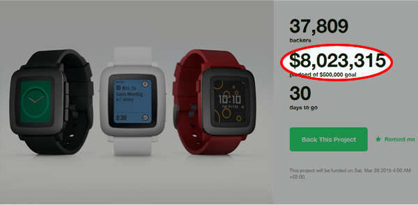 Pebble Time on KickStarter